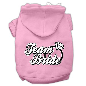 Team Bride Screen Print Pet Hoodies Light Pink Size XL (16)